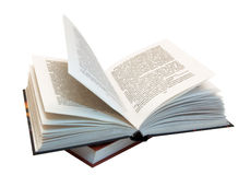 The opened book atop of other book. (isolated Stock Image