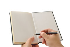 Opened book with blank pages. Prepare to write something Royalty Free Stock Image