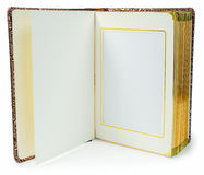 Opened book with blank pages and decorative frame for text Royalty Free Stock Photo