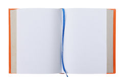 Opened book with blank pages isolated on white Royalty Free Stock Photo