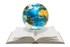 Opened book with Earth globe. 3D rendering. Isolated on white background Royalty Free Stock Photo