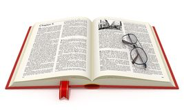 Opened book with eyeglasses. Isolated on white background Royalty Free Stock Image