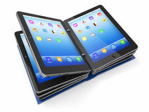 Opened book or folder from tablet pc Royalty Free Stock Photography