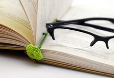 Opened book with glasses and flower. Brake in reading book - opened book with small green flower and modern looked glasses in black Royalty Free Stock Photography