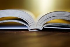 Opened book on a golden background. Close-up royalty free stock photo