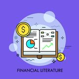 Opened book with graphs, diagrams and dollar coins. Concept of financial literature, economical studies and statistical data, scholarly publication. Modern Royalty Free Stock Photo