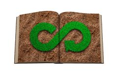 Opened book. Grass infinity arrow on soil page. 3D illustration. ECO and circular economy concept. Opened book with green grass in infinity recycling arrow royalty free illustration