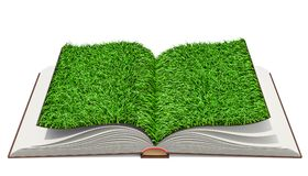 Opened book with  grass on pages. 3D rendering. Isolated on white background Stock Images