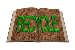 Opened book. Grass RECYCLE word on soil page. 3D illustration. Green resource recovery, zero waste environmental protection concept. Opened book with green grass stock illustration