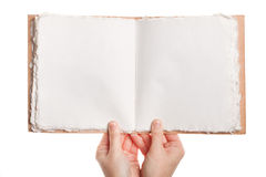 Opened book in hands Stock Images