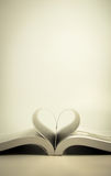 Opened book with heart page Stock Photos