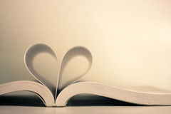 Opened book with heart page Royalty Free Stock Photo