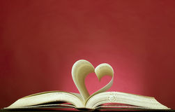 Opened book and heart shape Stock Photos