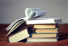 Opened book with heart shaped pages Royalty Free Stock Photography