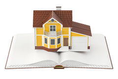 Opened book with house, 3D rendering. Isolated on white background Stock Photo