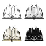Opened book icon in cartoon style isolated on white background. Books symbol stock vector illustration. Royalty Free Stock Image