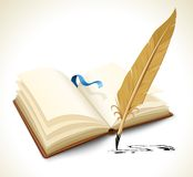 Opened book with ink feather tool Royalty Free Stock Images