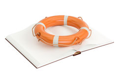 Opened book with lifebuoy. Opened blank book with lifebuoy, 3D rendering Stock Photography
