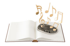 Opened book with loudspeaker and music notes, audiobook concept. Royalty Free Stock Photos