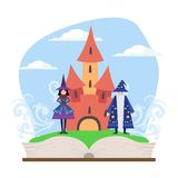 Opened Book with Magic Fairytale Castle, Wizard and Witch Vector Illustration vector illustration