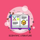 Opened book and molecular structures. Concept of scientific literature, studies and data, scholarly publication, academic publishing. Creative vector Stock Photos