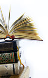 Opened Book over books set. Opened book on top of closed books isolated on white background royalty free stock images