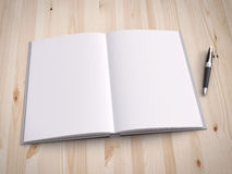 Opened book and pen. On wood background royalty free stock photography