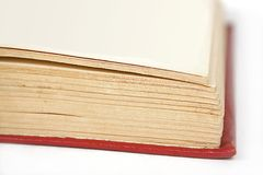 Opened book red hard cover Stock Photo