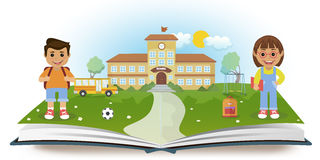 Opened book with school and two children Royalty Free Stock Images