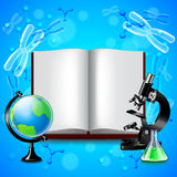Opened book and science tools on blue background Royalty Free Stock Images