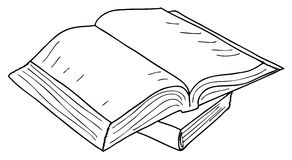 Opened book sketch, vector Stock Image
