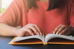 Young woman is reading a book at home royalty free stock photos