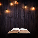 Opened book on a wooden background with Light bulbs Stock Photography