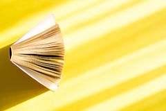 Opened book on a yellow background in the bright sun. The concept of education, reading, buying books. Copy space.  royalty free stock image