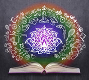 Opened book with yoga sketches Royalty Free Stock Image