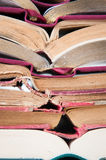 Opened books pile. Old and new opened books pile stock image