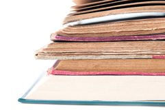 Opened books view. Old and new opened books pile royalty free stock photography