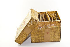 A opened box. A small yellow opened box Royalty Free Stock Image