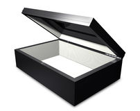 Opened Box. A 3D elegant opened reflective box and it's inside is quoted with elegant white leather placed on a white background Royalty Free Stock Image