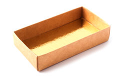 Opened box. Opened golden giftbox, white backgroun and clipping path Stock Image