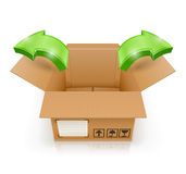 Opened box with arrow outside Stock Photo