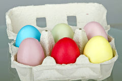 Opened box with eggs Royalty Free Stock Images