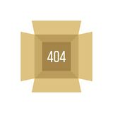 Opened box with 404 error Royalty Free Stock Images