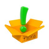 Opened Box with Exclamation Mark. Royalty Free Stock Photography