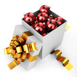 Opened box filled by christmas baubles. Soon holiday time to do gift vector illustration