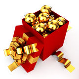 Opened box filled christmas baubles Royalty Free Stock Photos