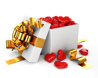 Opened box filled heart valentine day concept Stock Image