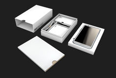 Opened box package with mobile phone isolated on black background, Illustration Stock Photos