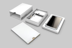 Opened box package with mobile phone isolated on white background, Illustration Royalty Free Stock Images