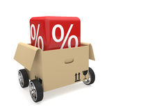 Opened Box Wheels Red Sale Cube Stock Image
